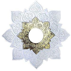 Prato JN Hookah Athenas Médio - Branco/Dourado