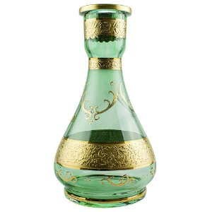 Vaso Bohemian Egermann Teardrop 1001 Nights 30cm - Moss Green