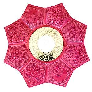 Prato EBS Hookah Zamac Lotus M 22cm - Rosa/Dourado