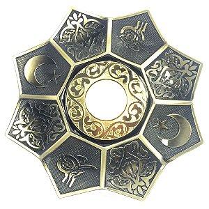 Prato EBS Hookah Zamac Lotus M 22cm - Dourado Velho/Dourado