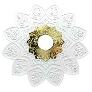 Prato EBS Hookah One M 22cm - Branco/Dourado