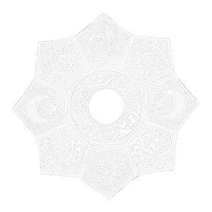 Prato EBS Hookah Zamac Lotus M 22cm - Branco/Branco