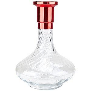 Vaso ZH Genie 30cm Rigado - Vermelho/Clear