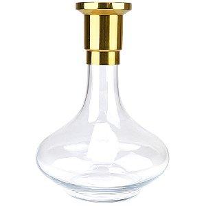 Vaso ZH Genie 30cm Liso - Dourado/Clear