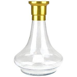 Vaso MDI Hookah Genie 26CM Liso - Dourado/Clear