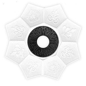 Prato EBS Hookah Zamac Lotus M 22cm - Branco/Preto