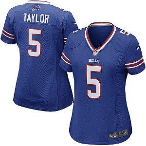 Camisa Feminina NFL Buffalo Bills Futebol Americano #5 Taylor