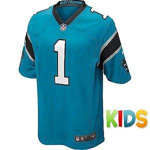 Camisa Infantil NFL Carolina Panthers Futebol Americano #1 Newton