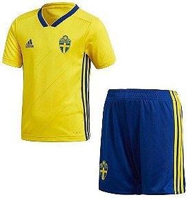 Kit Infantil Seleção Suécia Home Copa do Mundo 2018 - personalizaçao e frete gratis