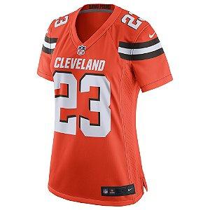 Camisa Feminina NFL Cleveland Browns Futebol Americano #23 Joe Haden