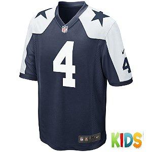 Camisa NFL Infantil Dallas Cowboys Futebol Americano #4 Dak Prescott