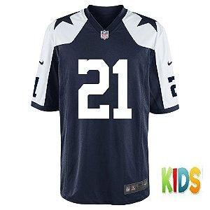 Camisa NFL Infantil Dallas Cowboys Futebol Americano #21 Ezekiel Elliott