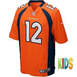 Camisa NFL Infantil Denver Broncos Futebol Americano #12 Paxton Lynch