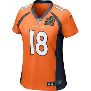 Camisa Feminina NFL Denver Broncos Futebol Americano #18 Peyton Manning