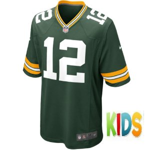 Camisa NFL Infantil Green Bay Packers Futebol Americano #12 Aaron Rodgers
