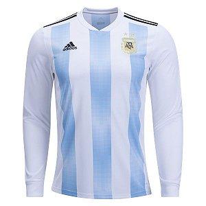 Camisa Seleção Argentina Manga Longa Home Copa do Mundo 2018 - PERSONALIZAÇÃO E FRETE GRÁTIS