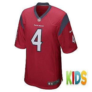 Camisa NFL Infantil Houston Texans Futebol Americano #4 Deshaun Watson