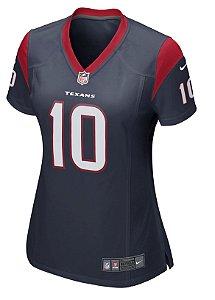 Camisa NFL Feminina Houston Texans Futebol Americano #10 Hopkins