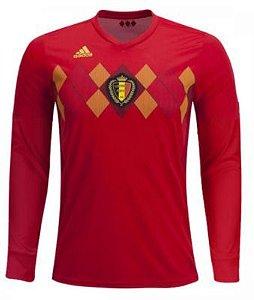 Camisa Seleção Bélgica Manga Longa Home Copa do Mundo 2018 - Personalização e Frete Grátis