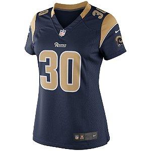 Camisa NFL Feminina Los Angeles Rams Futebol Americano #30 Todd Gurley