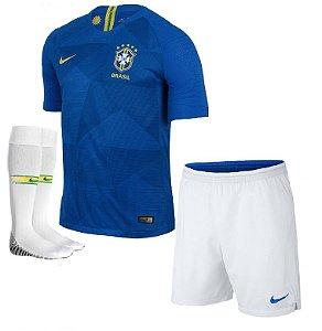 Kit Adulto Seleção do Brasil Away Copa do Mundo 2018 - personalizaçao e frete gratis