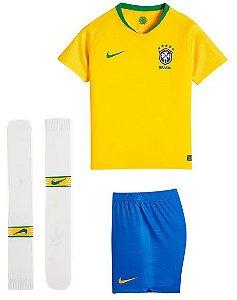 Kit Infantil Seleção Brasil Home Copa do Mundo 2018 - personalizaçao e frete