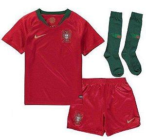 Kit Infantil Seleção Portugal Home Copa do Mundo 2018 - personalizaçao e frete gratis