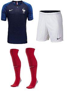 Kit Adulto Seleção França Home Copa do Mundo 2018 - personalizaçao e frete gratis