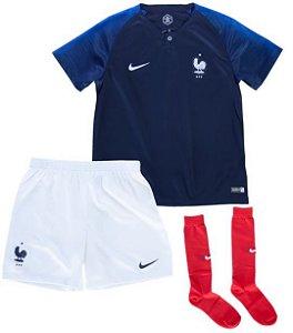 Kit Infantil Seleção França Home Copa do Mundo 2018 - personalização e frete grátis