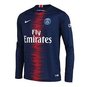 Camisa Paris Saint Germain PSG Manga Longa Home 18/19 - Personalização e Frete Grátis