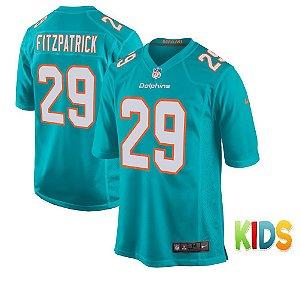 Camisa Infantil NFL Miami Dolphins futebol Americano #29 Minkah Fitzpatrick