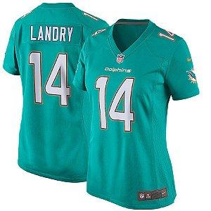 Camisa Feminina NFL Miami Dolphins futebol Americano #14 Jarvis Landry