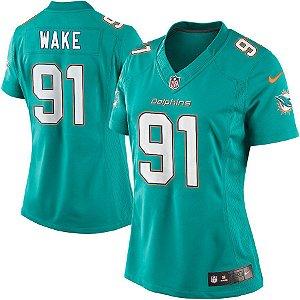 Camisa Feminina NFL Miami Dolphins futebol Americano #91 Cameron Wake