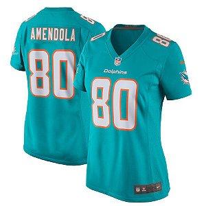 Camisa Feminina NFL Miami Dolphins futebol Americano #80 Danny Amendola
