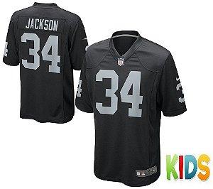 Camisa Infantil Nfl Oakland Raiders Futebol Americano #34 Jackson