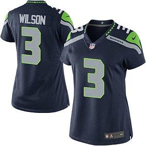Camisa Feminina Nfl Futebol Americano Seattle Seahawks #3 Wilson