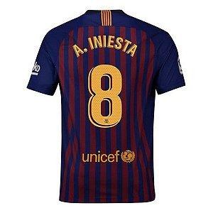 Camisa Barcelona Home 2018/2019 #8 A. Iniesta Frete Grátis