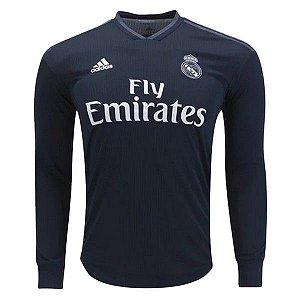 Camisa Real Madrid Away 2018/2019 Manga Longa - Personalização e Frete Grátis