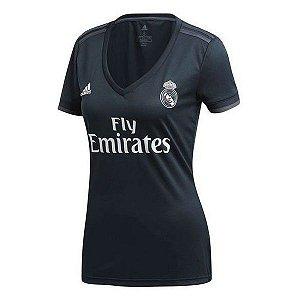 Camisa Real Madrid Feminina Away 2018/2019 - Personalização e Frete Grátis