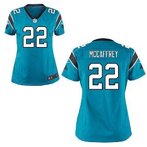 Camisa Feminina NFL Carolina Panthers Futebol Americano #22 Christian McCaffrey
