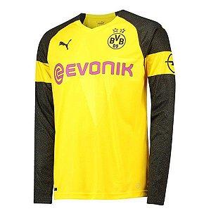 Camisa Borussia Dortmund Manga Longa Home 2018/2019 Personalização e Frete Grátis