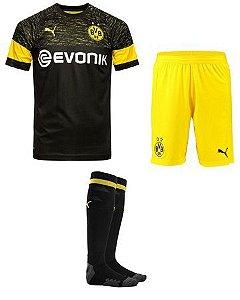 Kit Infantil Borussia Dortmund Away 2018/2019 Personalização e Frete Grátis
