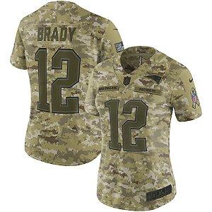 Camisa Feminina New England Patriots Nfl Futebol Americano #12 Tom Brady