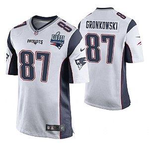 Camisa Nfl Futebol Americano New England Patriots Super Bowl LIII  87  Gronkowski d44a002a0d8a2