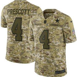 Camisa NFL Dallas Cowboys Futebol Americano Salute To Service #4 Prescott