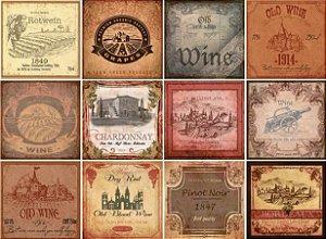 Placa Decorativa Vinho 20x20