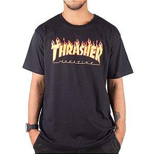 CAMISETA THRASHER MAGAZINE FLAME - PRETA