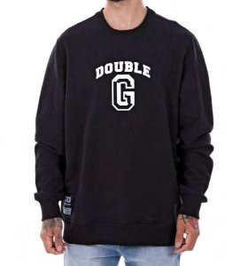 MOLETOM CARECA DOUBLE-G COLLEGE LOGO - PRETO