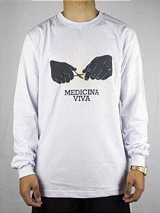 Camiseta viva Manga Longa Medicina - Branca