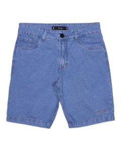 Bermuda Tradicional Jeans Simple Raw - Azul claro